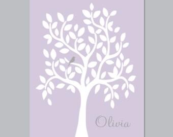 Baby Girl Nursery Art, Nursery Tree Wall Art, Lilac Nursery Decor, Lavender Nursery, Girl Baby Shower Gift, Bird Birdie 1 Print Or Canvas