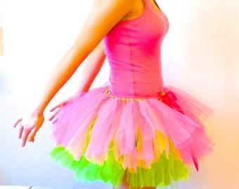 Pink and Green Tutu - Rave Tutu - Race Tutu - Adult Tutu