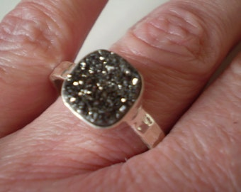 Hematite Drusy 925 Sterling Silver Ring Size 10.75
