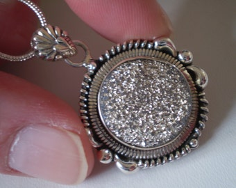 Pyrite Drusy (Natural) 925 Sterling Silver Necklace - 18 Inch
