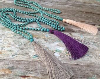 Best Selling 108 Mala Beads - Boho Turquoise Necklace - Japa Mala - Calming Mala - Turquoise Stone Beads - Buddhist Prayer - Calming Mala