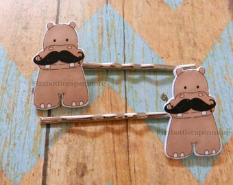 Set of 2 Hippo With a Mustache Hair Pins