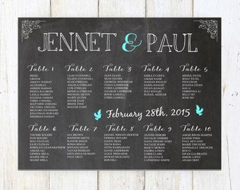 Wedding Seating Chart - Chalkboard Seating Chart - DIGITAL file