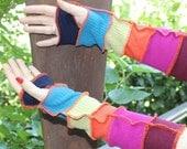 Fingerless gloves , Long arm warmers , Upcycled sweaters , Hippie gloves , Katwise inspired , Boho fingerless gloves.