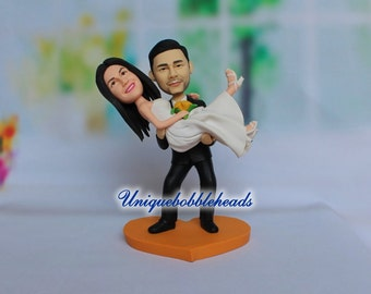 Custom wedding cake topper,grooms carrying bride,mr and mrs cake topper,princess hug,bride and groom cake topper,