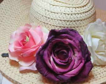 Sun Hat -Women's Wide Brim -navy blue w/ white polka dot  bow- Beach- Pool hat