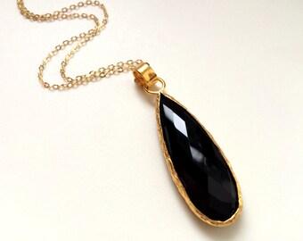 Black Onyx Pendant Necklace, Long teardrop Onyx