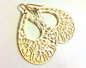 Large Gold Teardrop Earrings, Filigree Teardrop Earrings, Extra Large