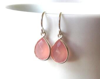 Pink Chalcedony Earrings, Pink Chalcedony Teardrop Earrings, Pink Chalcedony Sterling Earrings, Pink Delicate Earrings