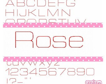"Instant Download Rose single line Embroidery Font 1"" 2"" 3"""