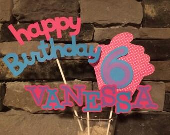 Cupcake Themed Name Centerpiece