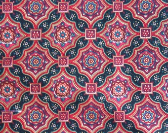 BTY - OOP Canterbury Manor Red Medallions Hoffman Vintage Quilting Fabric - Floral Sewing Fabric #02-06