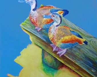 Two Little Ducks, FREE DELIVERY UK, Fine Art Giclee Print on Archival Paper, Original Artwork by Philippa Preece, Original Oil Painting