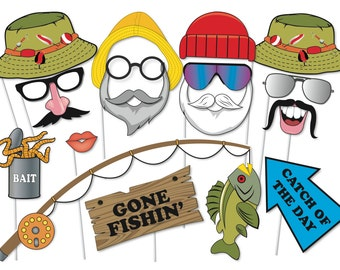 Fishing Photobooth Party Props Set - 17 Piece PRINTABLE - Fishing birthday party Photo Booth Props, Gone Fishn', Download