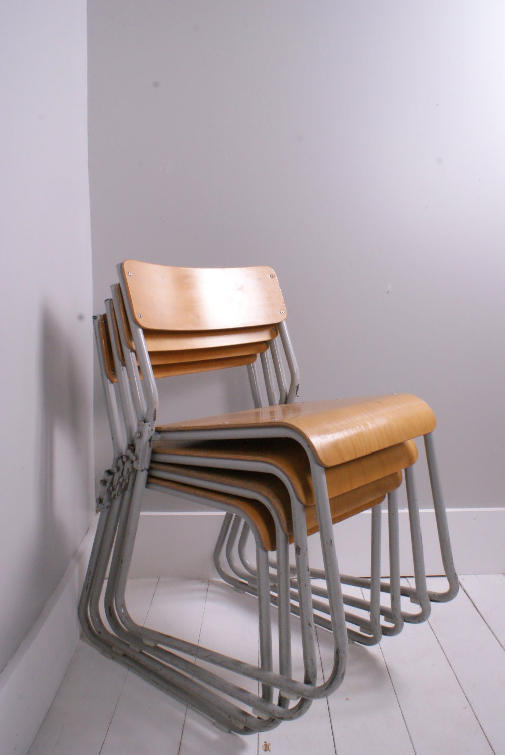 children s vintage metal legged stackable chairs