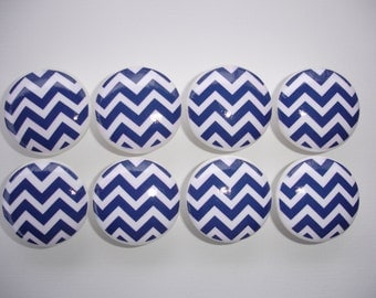 Navy and White Chevron Dresser Drawer Knobs-Set of 8