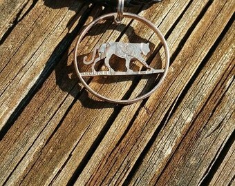 Coin jewelry tiger pendant necklace cut from a quarter handmade