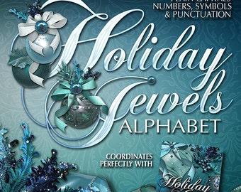 Holiday Jewels Digital Scrapbook Alphabet: Christmas Holiday, Printable Scrapbook Embellishments, Ornament, Floral, Bows - Instant Download