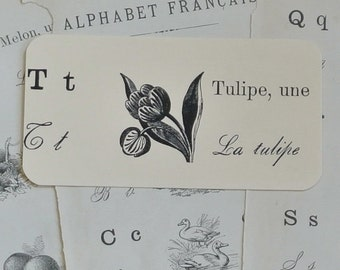 Set of Vintage French Flashcards:  Alphabet Francais