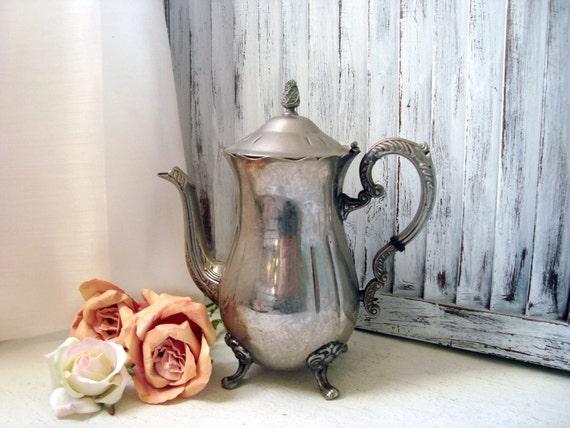 Vintage Silver Plate Tea Pot Cottage Chic Teapot Tarnished