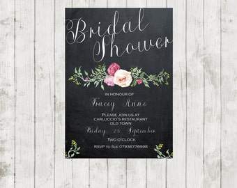 "Printable bridal shower invitation, digital bridal shower invitation, chalkboard invitation,diy bridal shower invitation, you print, 7"" x 5"""