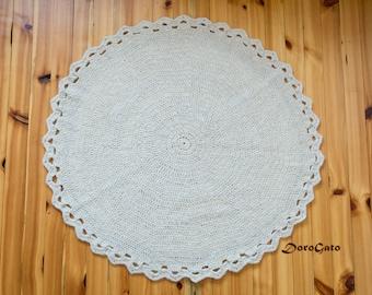 Natural wool rug, Round crochet rug, Crochet rug, Crochet Rug of organic wool, primitive decor, Crochet Carpet, Round Rug, Wool Rug