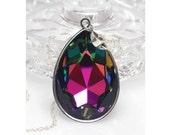 Swarovski Crystal Pendant, Pear Shaped Pendant, Multi Coloured, Gift For Her, Sterling Silver Pendant