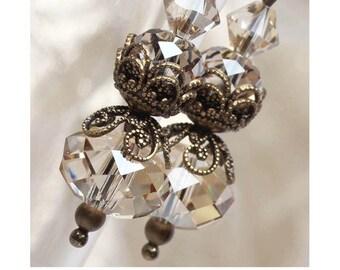 Vintage Style Swarovski Crystal Earrings, Sparkly, Faceted, Golden Earrings, Antiqued Brass, Filigree, Dangle, Elandra Designs, Jewellery