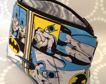 Superhero Make Up Bag / Pencil Case using Batman Fabric. Fully Lined!