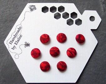 Fabric Covered Buttons - 8 x 10mm buttons, handmade button, red button, petal flower button, carnation button, scarlet floral button, 1463