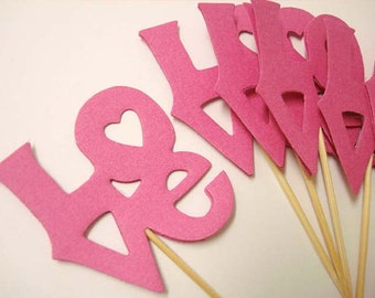 Set of 24Pcs - Hot Pink 'LOVE' Party Picks, Cupcake Toppers, Toothpicks, Food Picks