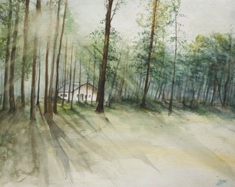 "Original Watercolor PRINT, Forest, ""Glory Camp,"" 9x12"