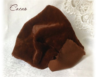 Exclusive ITALIAN VISCOSE Plush Fur Fabric Cacao Brown Colour 8-9 mm pile 1/8 metre teddy bear making supplies