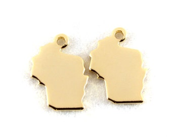 2x Gold Plated Blank Wisconsin State Charms - M115-WI