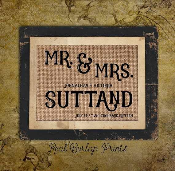 Personalized | Wedding Day | Bride and Groom | Mr & Mrs | Date | 8x10 |  Burlap Print | Personalized | #0106