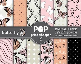 Butterfly digital paper, Delicate digital paper, Butterfly pattern, wedding invite, sweet sixteen invitation, feminine modern digital paper