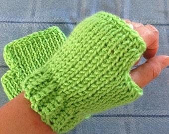 Green gloves, lime green fingerless mitts, hand knit, text gloves, hand warmer.