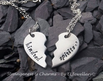 Hand stamped 'Kindred Spirits' Aluminium Split Heart Necklace, Broken Heart, Best Friends Necklace, Stamped Metal, Couples, Valentines Gift