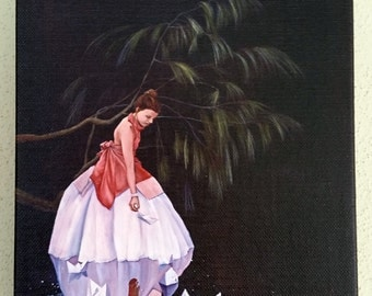 GICLEE SMALL PRINT of original painting 'Thoughts Adrift', woman in lake with paper boats and tree