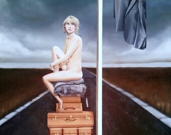 Giclee Print of original painting 'His Famous Last Trick' woman naked on luggage on road with sign post and suit