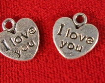 """10pc """"I love you"""" charms in antique silver (BC85)"""