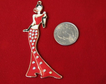 """1pc large """"Girl"""" charms in antique silver style (BC476)"""