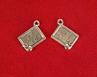"BULK! 15pc ""#1 teacher"" charms in antique silver style (BC561B)"