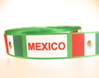 "5 yards of 1 inch ""Mexico"" grosgrain ribbon"