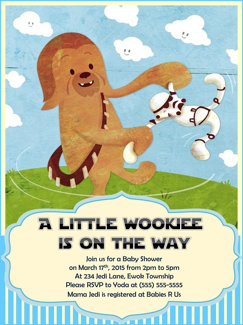 star wars baby shower invitation chewbacca boy by raynerhysdesigns