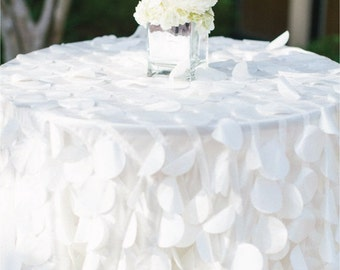 Shimmery Petal Tablecloths MADE TO ORDER, White Taffeta Petal Table Cloth for Wedding Ceremony Cake Table Sweet Heart Table, Bridal Shower
