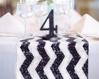 Chevron Black and White Sequin Table Runner READY TO SHIP Sparkly Black and White Table Decor for Wedding Reception, Ceremony Events