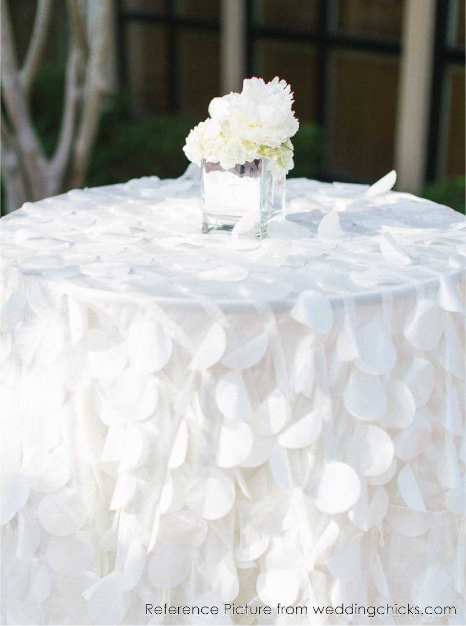 Shimmery Petal Tablecloths Made To Order White Taffeta Petal
