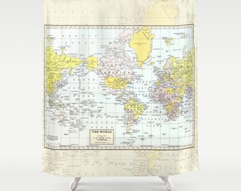 World Map Shower Curtain - Historical , colorful, vintage map - Vintage tones Home Decor - Bathroom - travel, blue, green pastel yellow