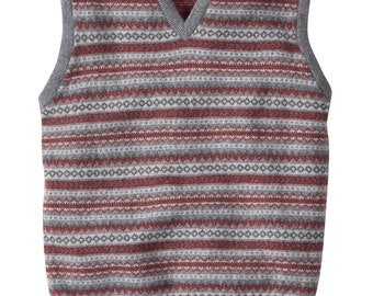 Mens lambswool fairisle tank top knitted in Scotland